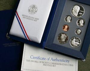 1993-US-Mint-PRESTIGE-Proof-Set-amp-Bill-Of-Rights-7-Coin-w-Silver-Dollar-amp-Half