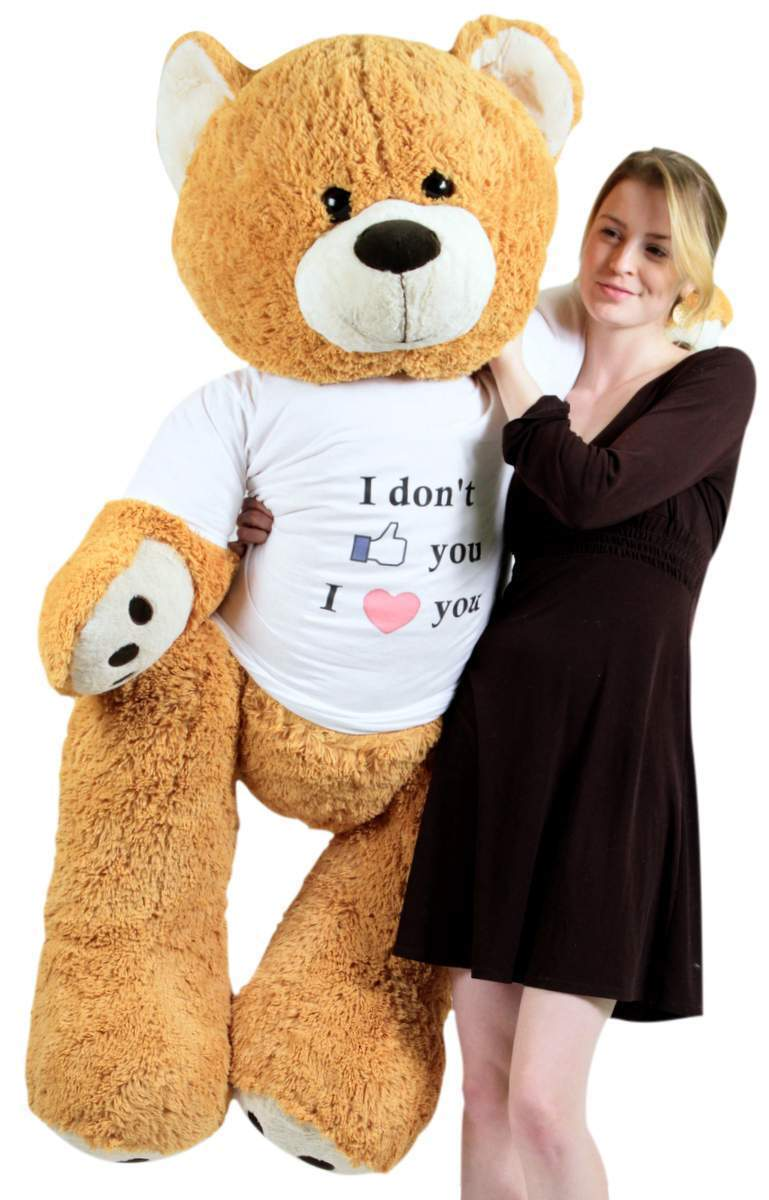 Big Plush Giant Love Teddy Bear 55 Inch marrone Tshirt I Don't Like You I Love You