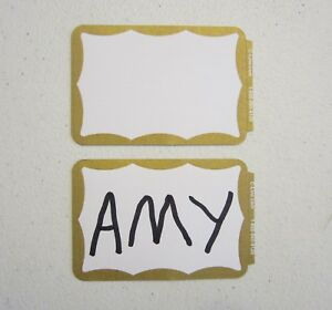Details about 40 GOLD BORDER BADGES NAME TAGS LABELS ID STICKERS ID TAG  NAME BADGE