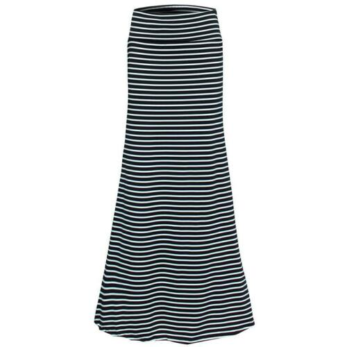 Plus Size Waist Long Skirt Saia Longa New Black /& White Faldas Largas Maxi Skirt