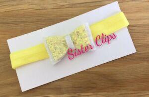 Adroit Bébé 0-3 Mois Paillettes Blanc & Citron Nœud Sur Lemon élastique Bandeau-afficher Le Titre D'origine