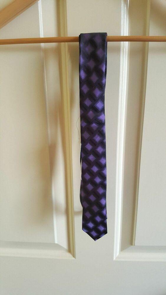 Fiable Nouveau Interrompu Tie Rack Violet & Noir Mixte Tartan Carreaux Fashion Skinny Cravate Moins Cher