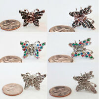 2x Sparkling Beautiful Butterfly Rhinestone Crystal Metal Hair Clip Jaw Ha10183