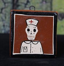 Small Tile Dias de los Muertos Red Cross Nurse Skeleton Tonala Mexican Folk Art