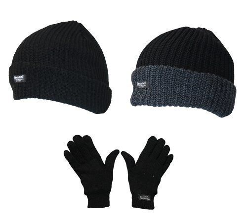 Mens Winter Warm Thermal Lined Chunky Beanie Hat & Thermal Glove Gift Set