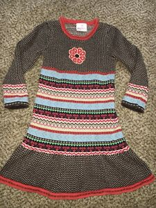 99cd8d90210 Girls Hanna Andersson Winter Sweater Dress Fair Isle Size 110 US 4-5 ...