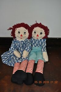 Details about Vintage Antique Handmade 26 Inch Raggedy Ann and Andy Dolls