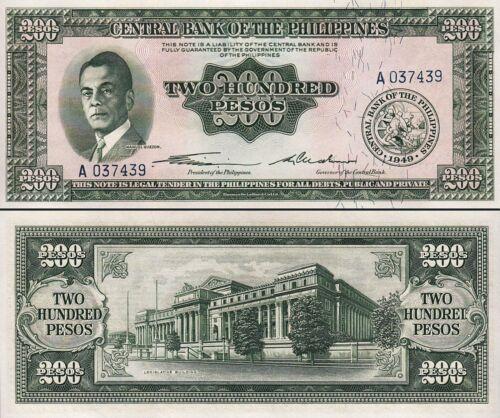 Prefix A Unc Philippines 200 Pesos 1949 P-140