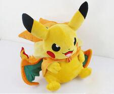 9'' Pokemon Pikachu With Charizard hat Plush Soft Toy Stuffed Animal Doll