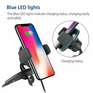 2 in 1 Wireless Charger Car Phone Qi Charging Dock CD Slot Mount Holder Stander