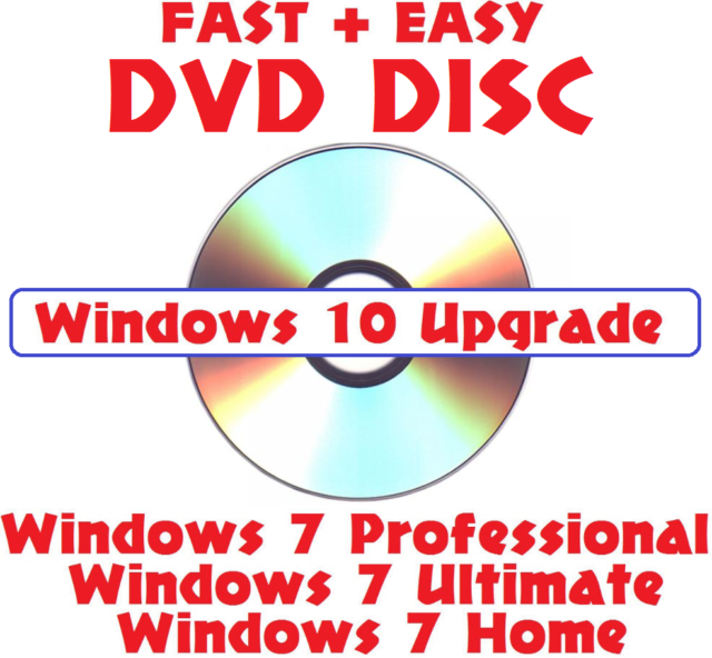 Microsoft Windows 10 Upgrade DVD W/ Win 7 Install Repair Basic Home Pro  Ultimate