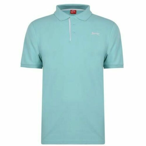Slazenger Mens Plain Polo Shirt Short Sleeves 3 Button Split Hem Soft Material