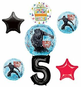 Black-Panther-Party-Supplies-5th-Birthday-Balloon-Bouquet-Decorations