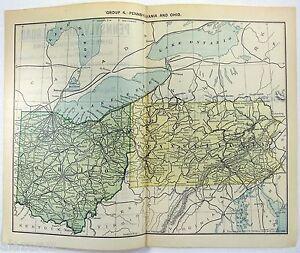 Pennsylvania And Ohio Map.Original 1889 Railroad Map Of Pennsylvania Ohio Ebay