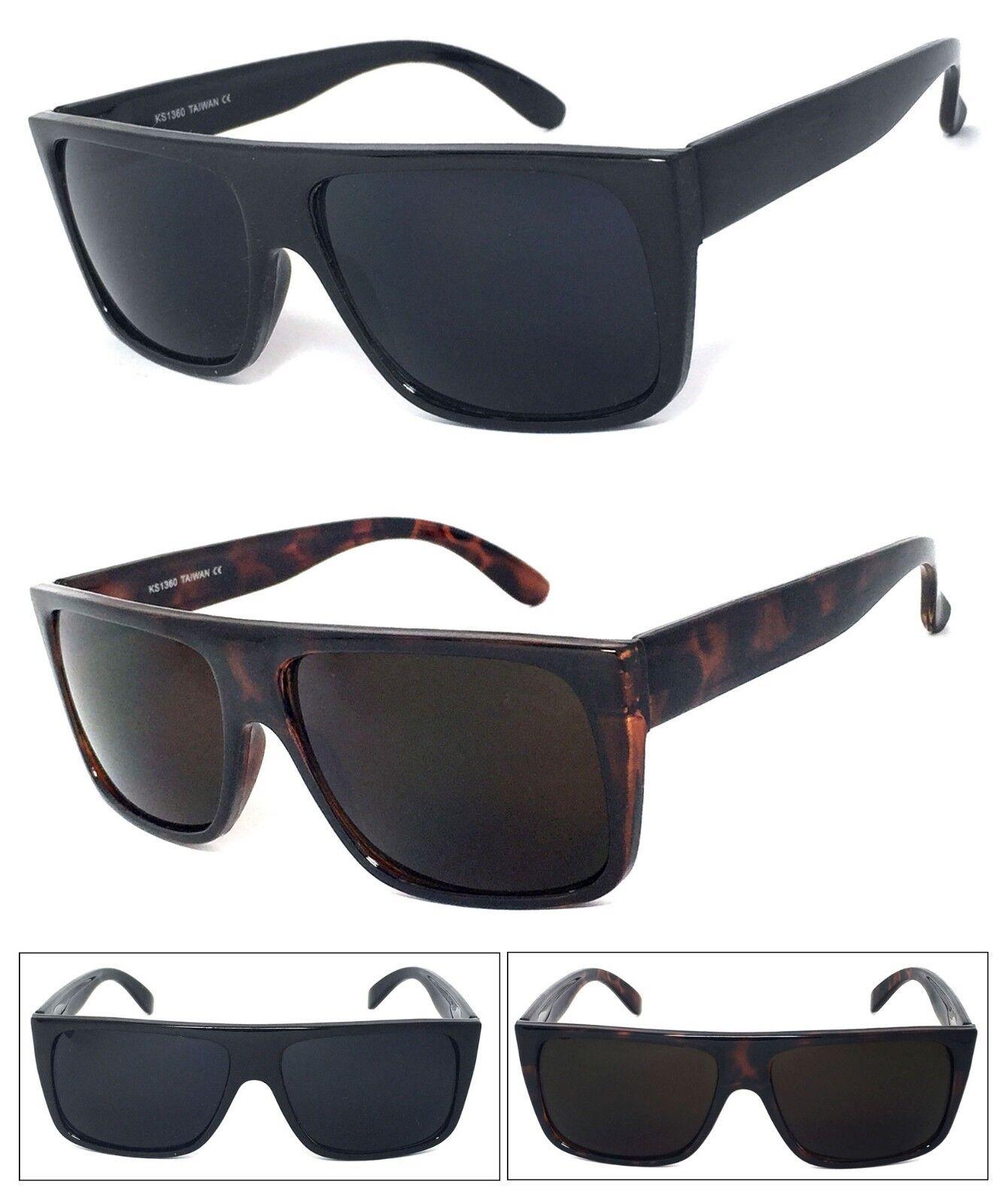 1 O 2 Par (S) Retro Cuadrado Gafas de Sol Marco Plano Top Muy Oscuro Lente UV400