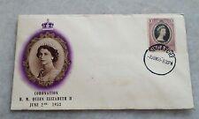 Malaya Singapore FDC 1953 QE Queen Elizabeth II Coronation Singapore chop