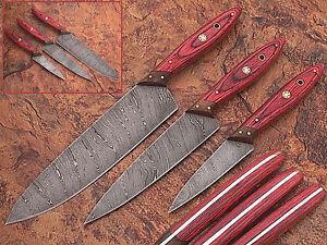 CUSTOM HAND MADE DAMASCUS BLADE KITCHEN STEAK KNIVES SET 1081 BLUE 4Pcs.