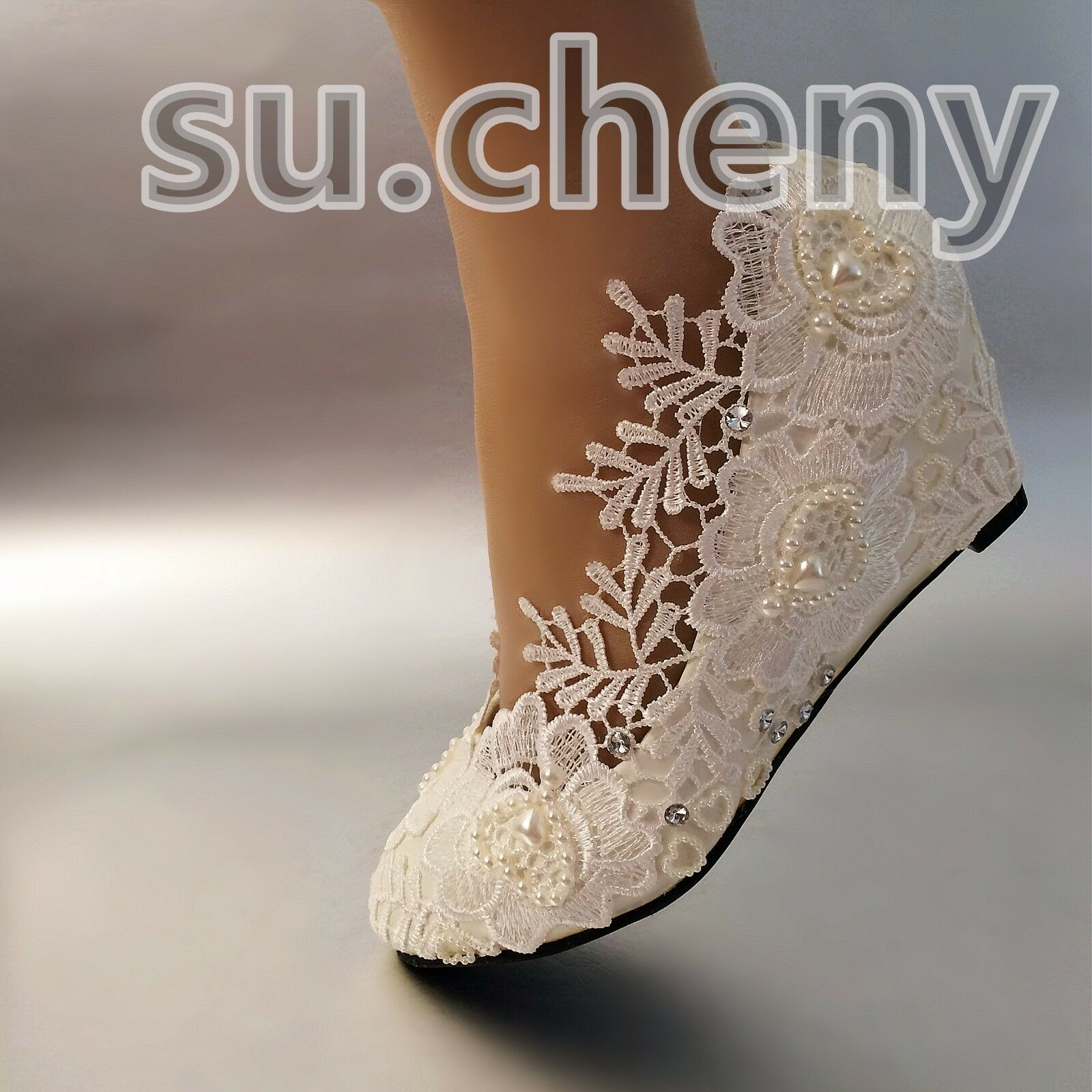 "2"" Wedge white light ivory pearls lace crystal Wedding shoes Bridal size 5-12"