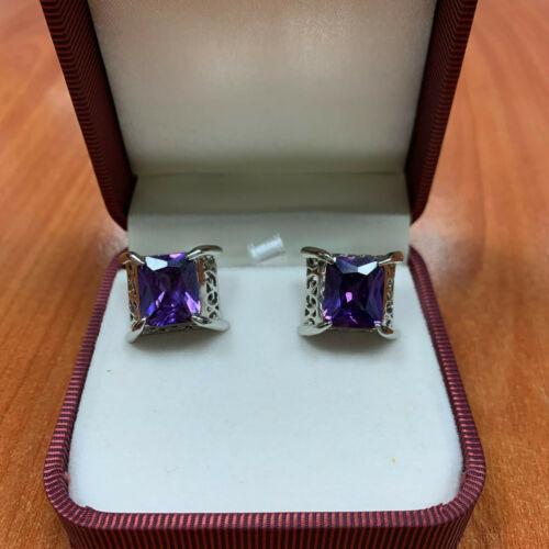 Men's Square Shape Cuff's Button with big purple S
