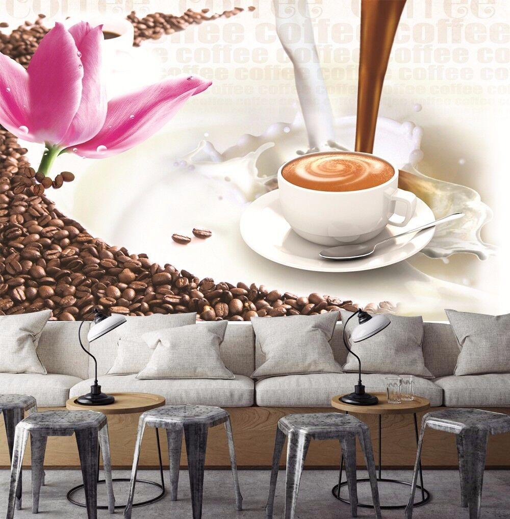 3D Kaffee, Blaumen Fototapeten Wandbild Fototapete BildTapete Familie DE