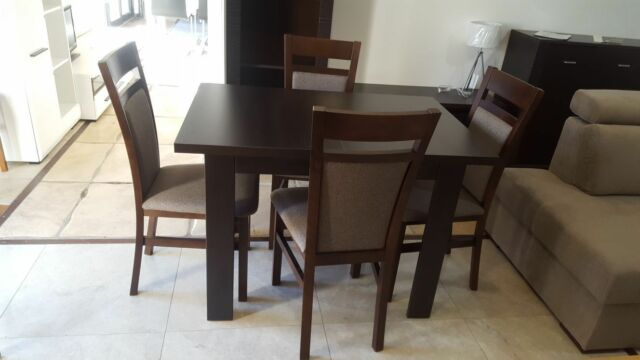 Extending dining table in dark wood colour Small Perfect! CHAIRS as OPTION Kam02