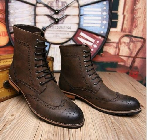 MEN NEW HANDMADE BROWN LACE UP HIGH ANKLE COMBAT BOOT MILITARY SHOES