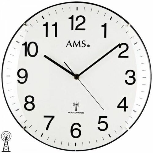AMS 5960 Wanduhr Funk Funkwanduhr analog rund weiß schlicht mit Glas