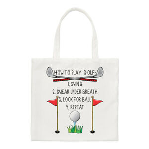 How-To-Play-Golf-Small-Tote-Bag-Funny-Dad-Father-039-s-Day-Shopper-Shoulder