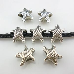 4.5mm Starfish Loose Spacer Beads Fit Bracelets 14//42pcs Tibetan Silver Hole