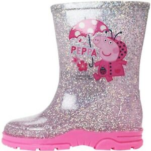 Girls-Peppa-Pig-Glitter-Wellingtons-Shiny-Sparkle-Wellies-Welly-Rain-Snow-Boots