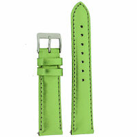 Watch Band Ladies Green Metallic Leather Padded Built-in Sprin Lea374