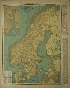 Frameable World Map.Antique 1929 Large Frameable Color Map Norway Sweden Estonia