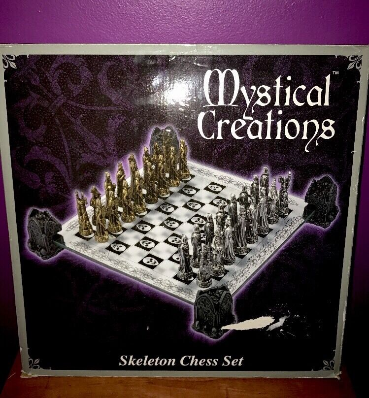 Chess Set Glass Board Mid-Evil Medieval Skeleton Slayer Gothic Fantasy Skull