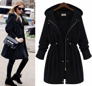 damen jacke outdoor mantel herbst trenchcoat freizeit kapuzen jacken mantel 9956 ebay. Black Bedroom Furniture Sets. Home Design Ideas
