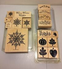 3 STAMPIN UP! Stamp Sets (Fall Fun, Itty Bitty Borders, Snowflakes) 17 pieces