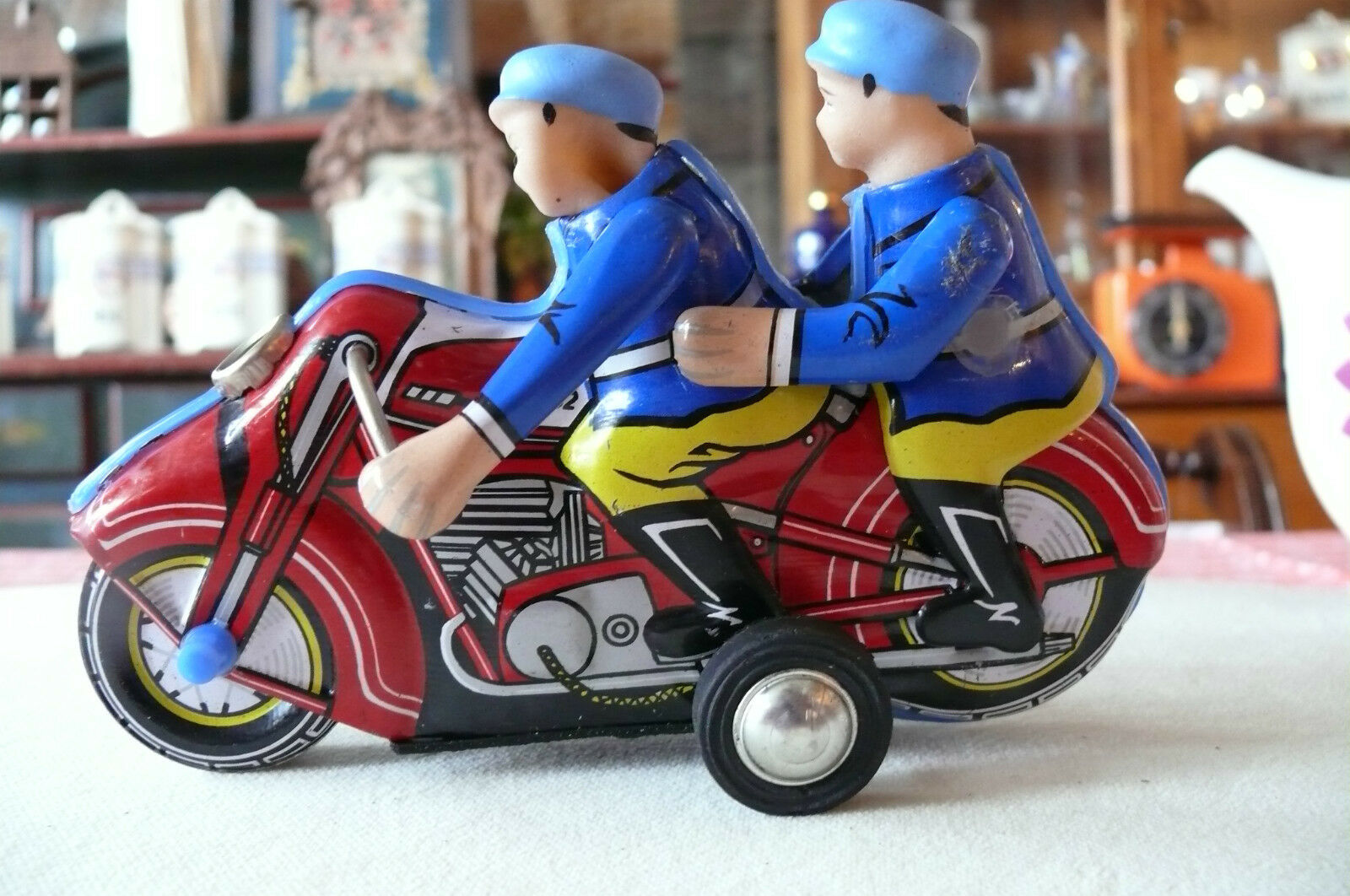 Tin Toy Mf-162 Police Officer Motor-Cycle Friction