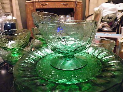 Other Decorative Collectibles Inventive Lot Of 8 Morgantown Green Crinkle Champagne Sherbets Mint Commodities Are Available Without Restriction Collectibles