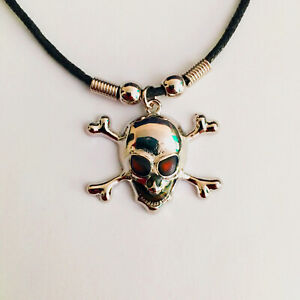 Necklace-Silver-Skull-Cross-Bones-Pendant-Wicked-Eyes-Colorful-Mood-Change-Color