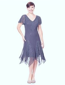 Mother-Bride-Elegant-Jkara-Gray-Beaded-Chiffon-Formal-Dress-Godot-Hem-NEW-10
