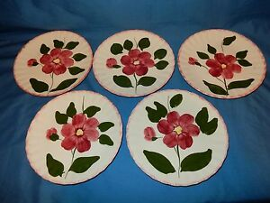 Set-of-5-Blue-Ridge-Southern-Pottery-8-3-8-034-Luncheon-Plates-Clematis-Pink-Trim