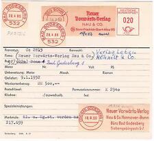 Vorwärts Verlag Nau & Co Bonn 1952  SPD Leben Magazin Frau Archivkarte Unikat