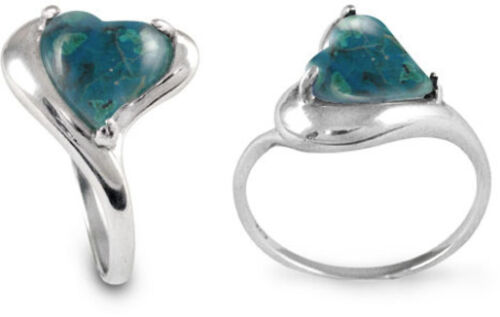 Sterling Silver Ring Heart Shape Chrysocolla Stone 6639//CRY//R
