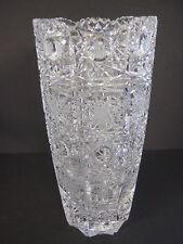 "Vintage Queen Lace Bohemian Czech Hand Cut Glass Crystal Vase, 8"" T X 3 3/4"" Dia"