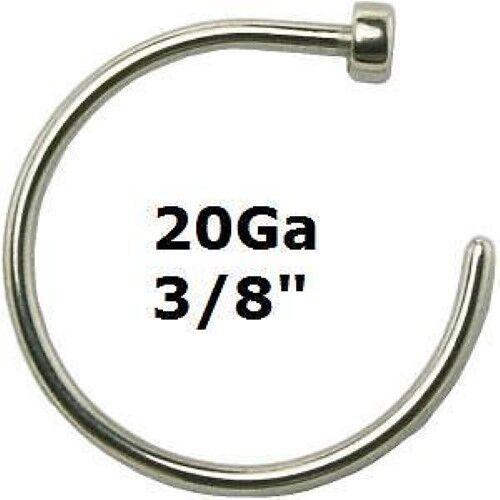 """316L Surgical Steel Nose Hoop Ring 20Ga~3//8/""""~10mm"""