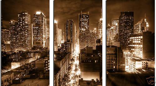 SPLIT CANVAS ART PRINT THREE PANEL NEW YORK CITY BROWN