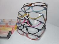 Cat Eye Style Reading Glasses & Case Rhinestone Look Choose Color & Strength V7