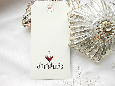 10  I LOVE CHRISTMAS  White Gift Tags   Red Glitter ink Handmade