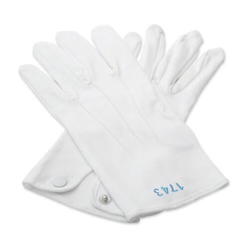 100/% Cotton White Masonic Gloves with Your Lodge Number