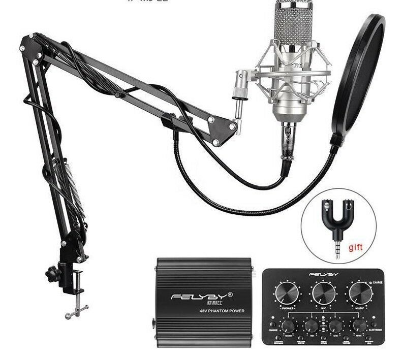 Condenser Wirot Microphones Handheld For Computer Pro Recording Power Sound Sets