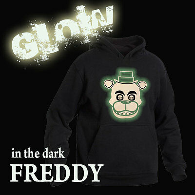 FIVE NIGHTS AT FREDDY'S GLOW IN THE DARK HOODIE FREDDY FACE ALL SIZES  HOODIE